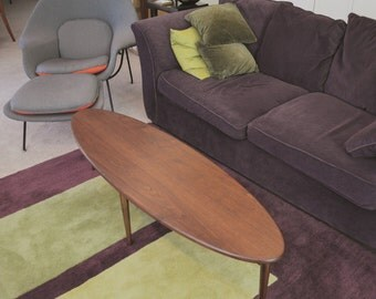 GEOTAP Oval Coffee Table Surfboard Coffee Table Mid Century Table Modern Table in Walnut or Cherry
