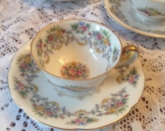 Free Shipping  4  Occupied Japan Vintage Porcelain Grace China Hand Painted  Demitasses Cup and Saucer Sets