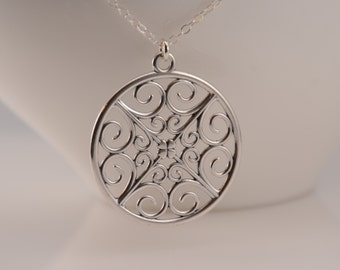 Filigree necklace. Long necklace. Sterling silver long necklace