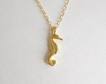 Gold seahorse etsy shiny gold seahorse necklace gold vermeil tiny seahorse necklace gold seahorse jewelry aloadofball Gallery