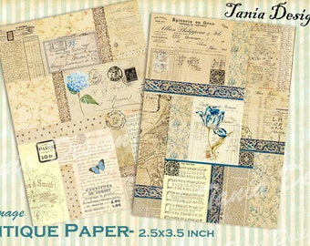 OLD PAPER- Printable Digital Collage Sheet - Set of 8 Atc - Cards Vintage Gift Tags Jewelry Holders Scrapbook