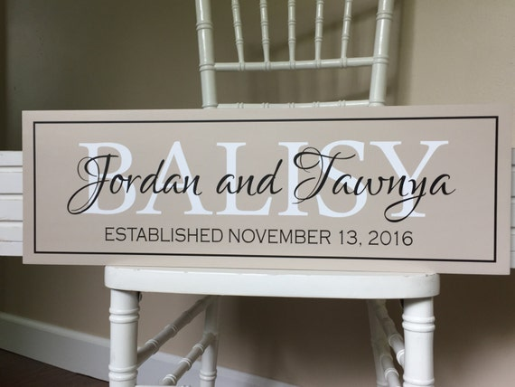 Wedding Gift Name Sign : name sign-personalized wedding gift-last name sign-engagement gift ...