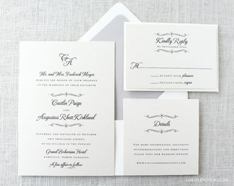 Monogrammed Wedding Invitations, Formal Wedding Invitations, Classic Wedding Invitations, Romantic Script Wedding Invitation
