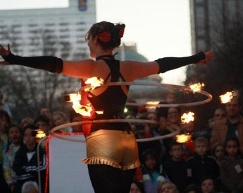 Synergy Firehoop 6 Permanent Spines/Wicks / travel Fire hula  hoop / Custom Fire Hula Hoop / Hoop Coiling Extender Included
