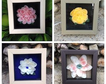 """Mini Shadow Boxed Flowers (4"""" x 4"""")"""
