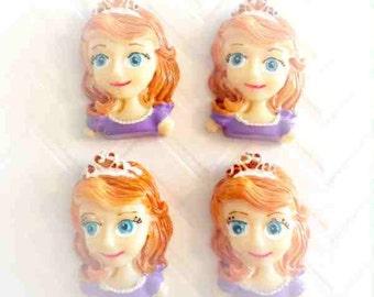 24mm  Princess sofia Girl Resin Cabochon 4 pcs