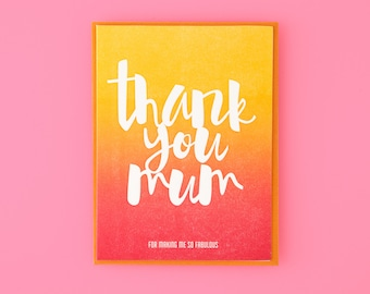 Thank You Mum Letterpress Greeting Card