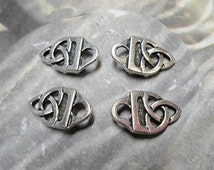 SALE 4 TierraCast Antique Silver Celtic Knot Strap Tips, finding, clasp, tierra cast, jewelry supplies, craft supply, jewelry supplier, ship