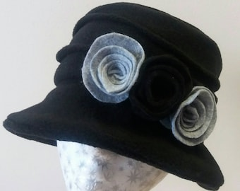 Handmade  Fleece Hat With Cosy Fleece Lining and Fleece Flowers in Black and Grey
