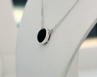 Sterling silver necklace set black onyx and decorative