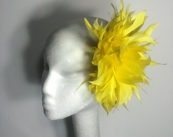 Yellow & Black Kentucky Derby Fascinator, Tea Party, Church Hat, Wedding Guest Hat