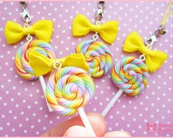 Kawaii strap -Rainbow Lollipop Candy  -  by Dolly House