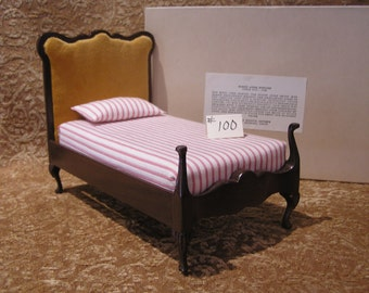 Dollhouse Bed, Sonia Messer Queen Anne, Gold Upholstery