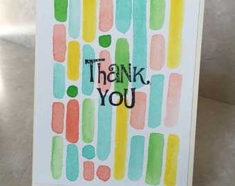 Blank watercolor handpainted thank you greeting card