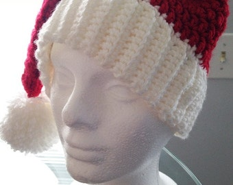 Fits most adults Crochet Santa Hat Handmade
