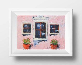 Italy Print, Italian Art, Rustic Country Style Original Artwork, 8x10 Print, 11x14 Print Romantic, Pastel, Pretty Painting in Oil