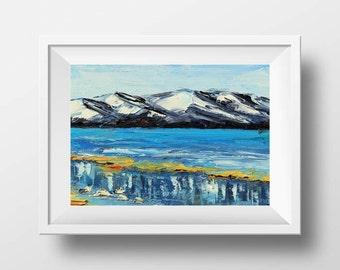 California Print, Lake Tahoe, South Lake Tahoe, Sierra Nevada, Mountain Artwork, Snowy Winter, 8x10 print, Impressionism, Mountain Print,Art