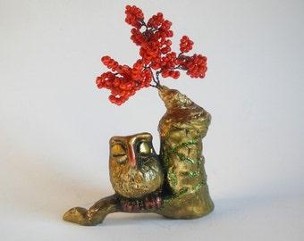Owl Figurine Red Tree