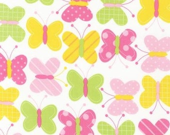 Butterfly Fabric - Urban Zoologie by Ann Kelle - Robert Kaufman.  Pink, Yellow  and  Green. 100% cotton. AAK-11503-192
