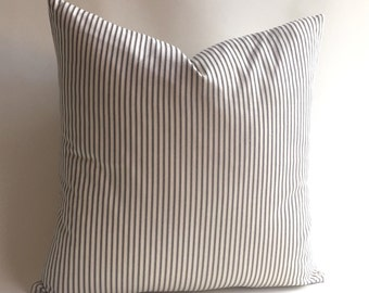 11 Sizes Available: One Black & Cream Ticking Stripe Pillow cover farmhouse pillow cover Euro pillow cover 26x26 28x28-ZR1A