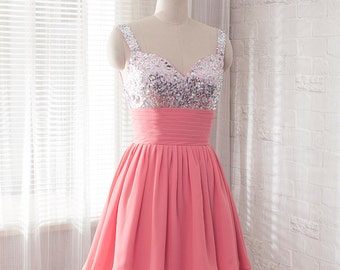 2016 prom dress, short bridesmaid dress, Chiffon formal dress, homecoming dress