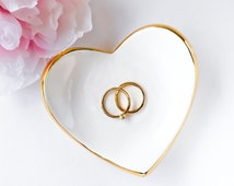Heart Ring Dish in White and Gold - Ring Holder, Bridesmaid Gift, Wedding Favor, Sweet 16, Mother's Day