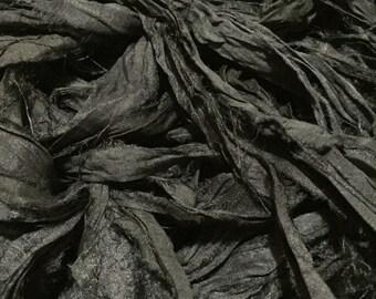 Black - Recycled Sari Silk Ribbon - Fair Trade product
