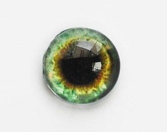 18mm handmade glass eye cabochon - green eye - Hemispherical / high dome