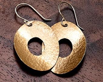 Bronze Hammered Metal Earrings