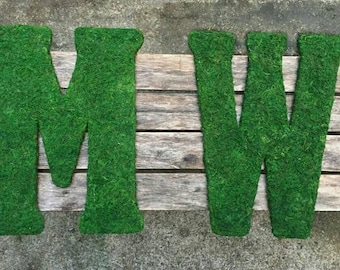 TWO 18 inch Moss Covered Letters/Numbers, Moss Covered Monograms--NO Bow