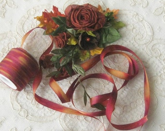 Hand Dyed Silk Ribbon (7mm) 1/4 inch - 5 yards - Ribbonwork, Embroidery, Sewing, Crafts, Crazy Quilt