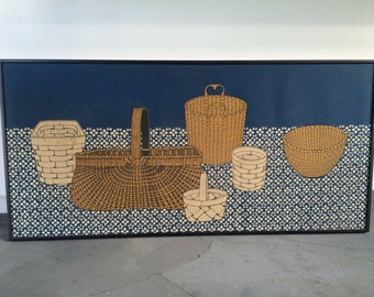 Tom Tru Hand Printed Serigraph On Belgian Linen Folk Art Basket Design Wall Art