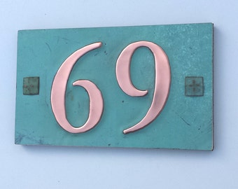 "Copper house numbers  with plywood back , screw fixing 2 x nos.3""/75mm - 4""/100 mm high in Garamond g"