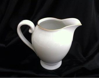 White Porcelain Ceramic Creamer Pitcher with Golg Trim Czechoslovakia