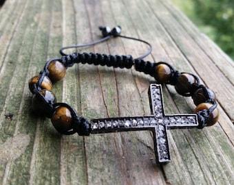 Cross Bracelet,Tigers Eye Bracelet, Sideways Cross, Mens Bracelet