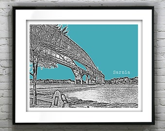 1 Day Only Sale 10% Off - Sarnia Skyline Poster Art Print Ontario Canada