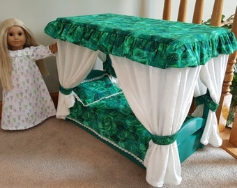 Canopy Bed for American Girl Doll (emeraldgreen)