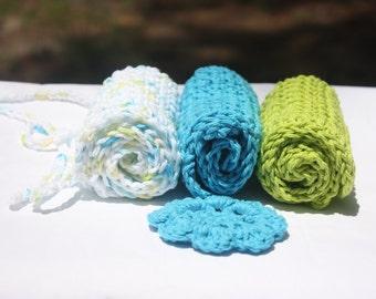 Blue Green Baby Washcloths - Crochet Baby Washcloths - Cotton Crochet Washcloths - Gender Neutral  Baby Washcloths