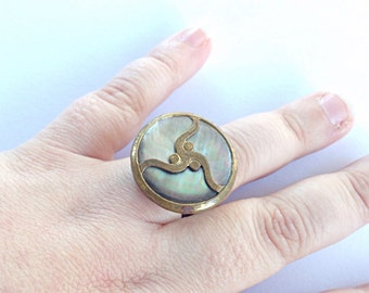 Mother of pearl ring, upcycled button ring