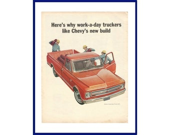 """CHEVROLET PICKUP TRUCK Original 1967 Vintage Extra Large Color Print Ad """"Here's Why Work-A-Day Truckers Like Chevy's New Build"""""""