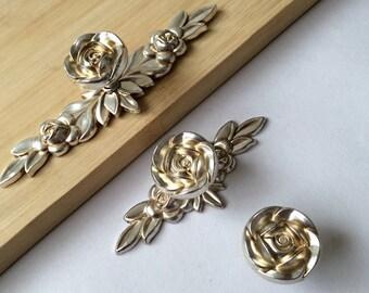 flower knobs shabby chic dresser drawer knobs pulls handles antique silver rose kitchen cabinet door
