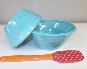 Aqua with Orange Polka Dot Nesting Bowls, Bowl Set