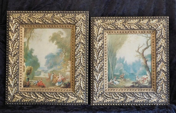 Giclee Prints Jean Honore Fragonard Rococo Genre Scenes A Game of Hot Cockles Horse and Rider Ornate Carved Gesso Gold Gilt Frames