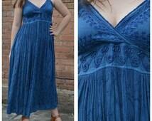 SALE 1990s New Age Hippie Blue Maxi Dress