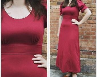 1970s Burgundy Red Hippie Maxi Dress