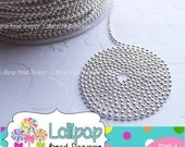 """SALE 1.5mm BRIGHT Silver BALL Chain Necklaces Beaded Chain 18"""" Finished Necklace Shiny Silver Plated Ball Necklace Bottle Cap Supplies Bezel"""