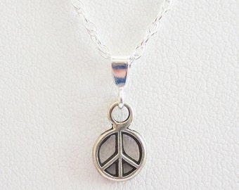 Mini Peace Sign Pendant Charm and Necklace