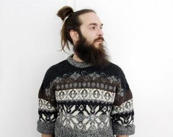 Vintage YSL sweater // Men's Yves Saint Laurent snowflake wool sweater
