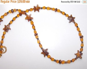 40%OFF Amber Starfish and Amber Teardrop Czech Glass Necklace