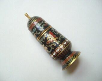 Vintage Chinese cloisonne bottle, black cloisonne, Chinese enamel, keepsake box, brass cloisonne